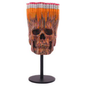 HAND CARVED No.2 HB PENCILS SKULL - LARGE - 'SKOOLS OUT'