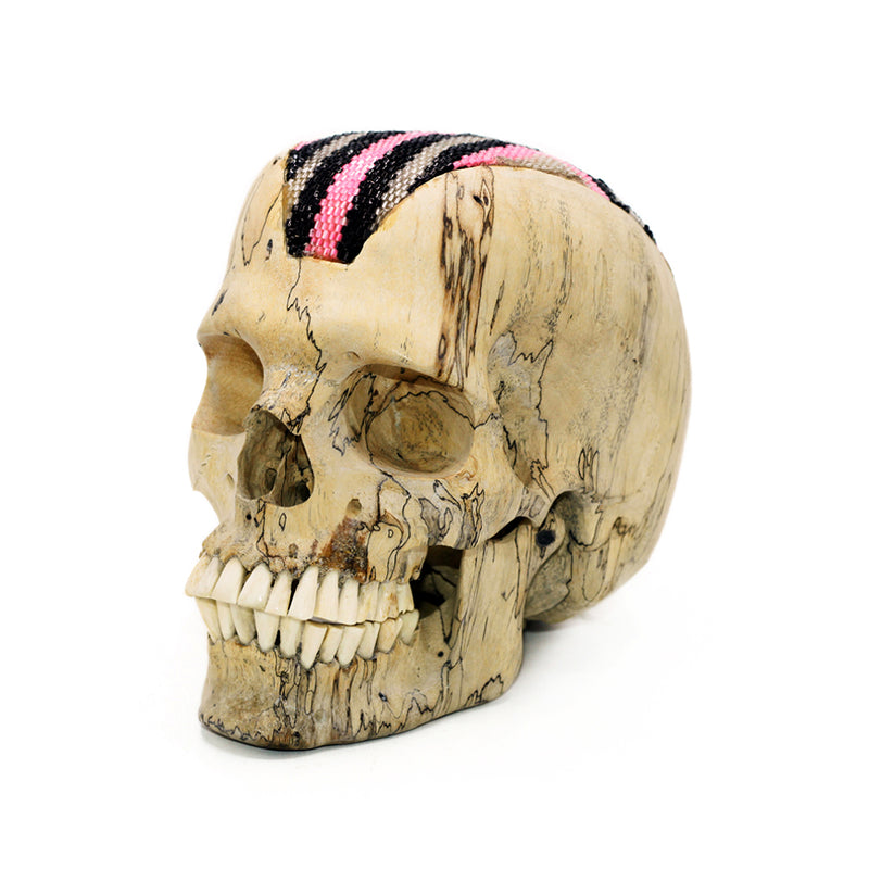 HAND CARVED WOOD SKULL WITH HAND CRAFTED BEADED DETAIL - MEDIUM