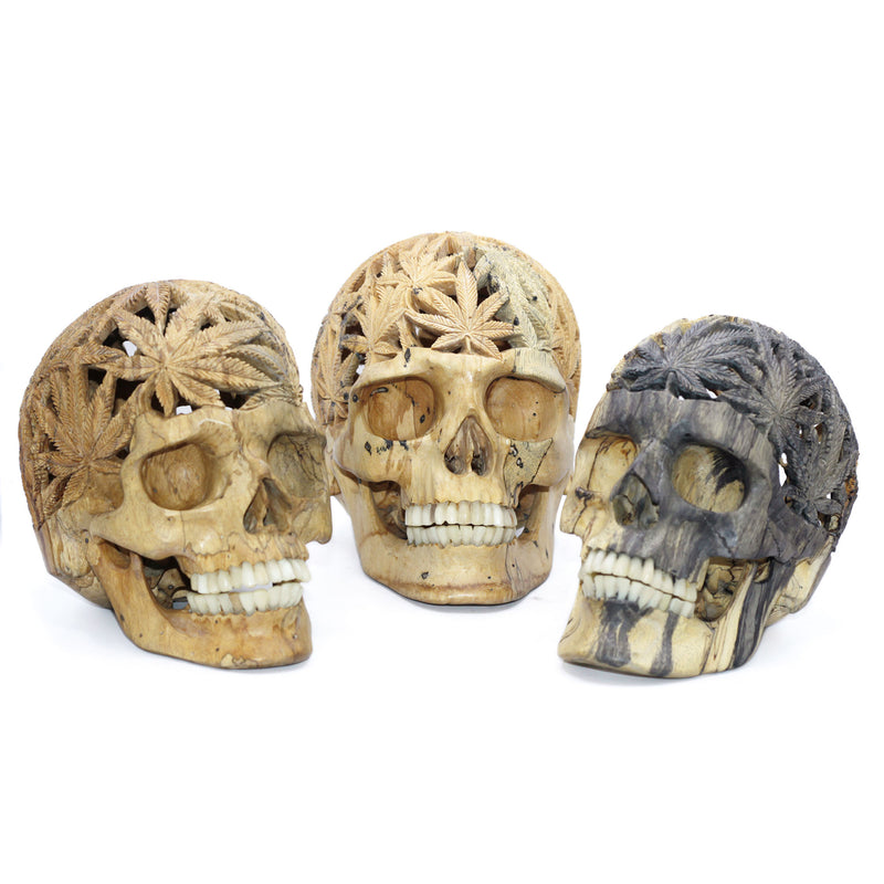 The Pothead junior hand carved wood Skull by Skullbali collection  in Medium Size