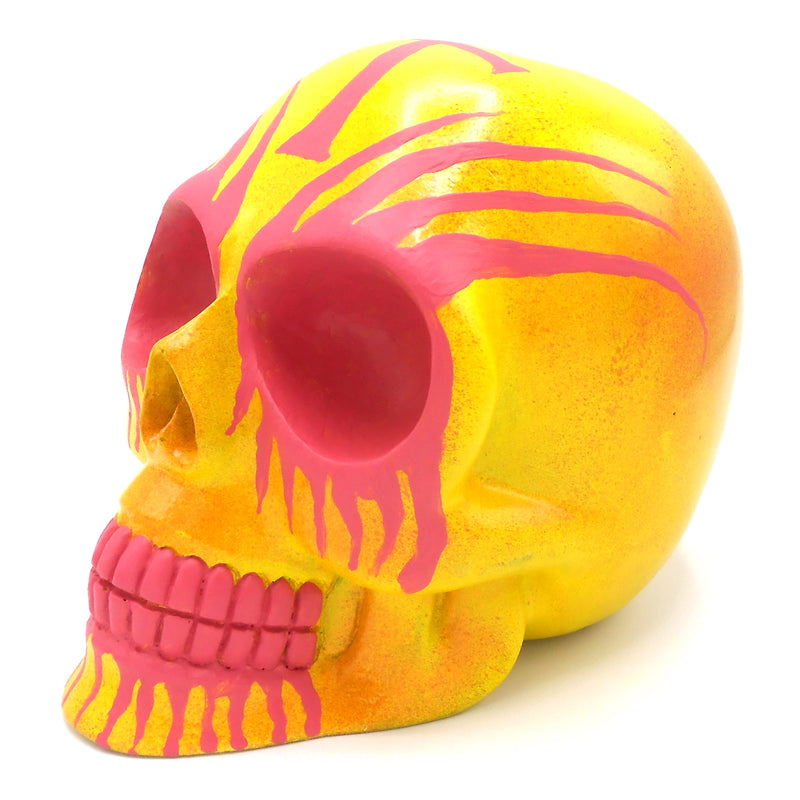 HOME DECOR HAND CARVED RESIN SKULL ART DECORATION FLOURO DOOM BEN BROWN