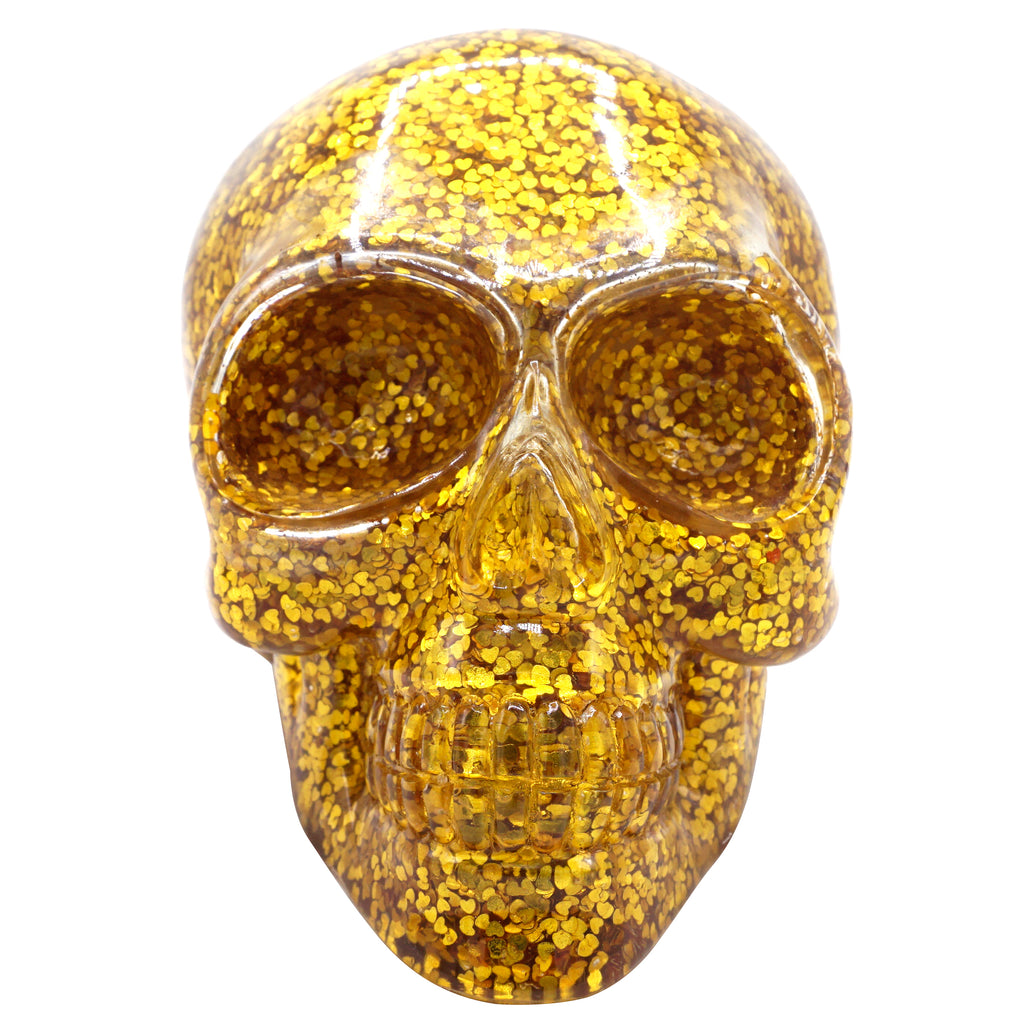 CLEAR RESIN SKULL - GOLD HEART CONFETTI - 'HEARTS OF GOLD'