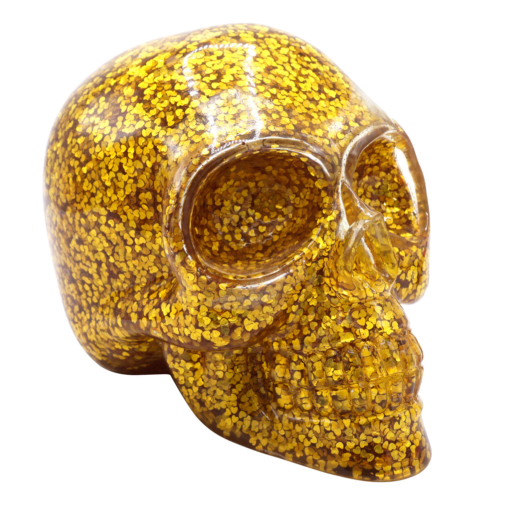 CLEAR RESIN SKULL - GOLD HEART CONFETTI