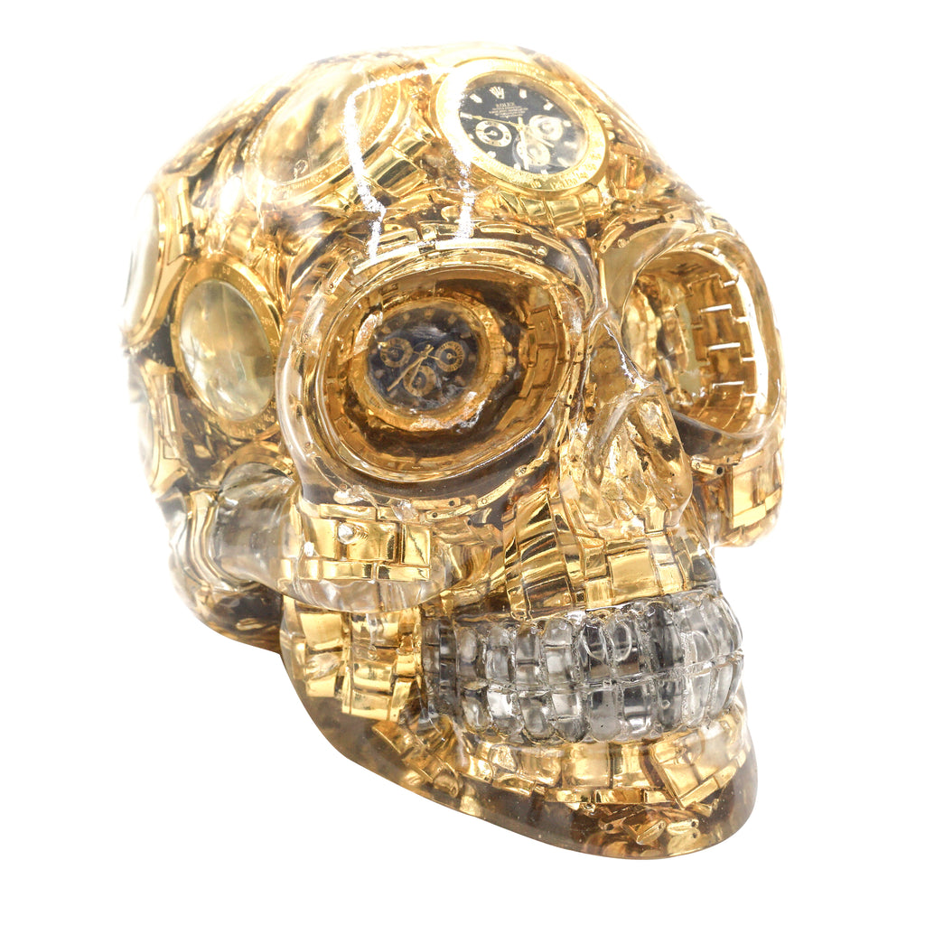 CLEAR RESIN SKULL - GOLD WATCHES - 'TIMELESS'