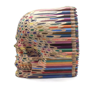 HAND CARVED FABER-CASTELL COLOR PENCILS SKULL - LARGE - 'ON POINT'
