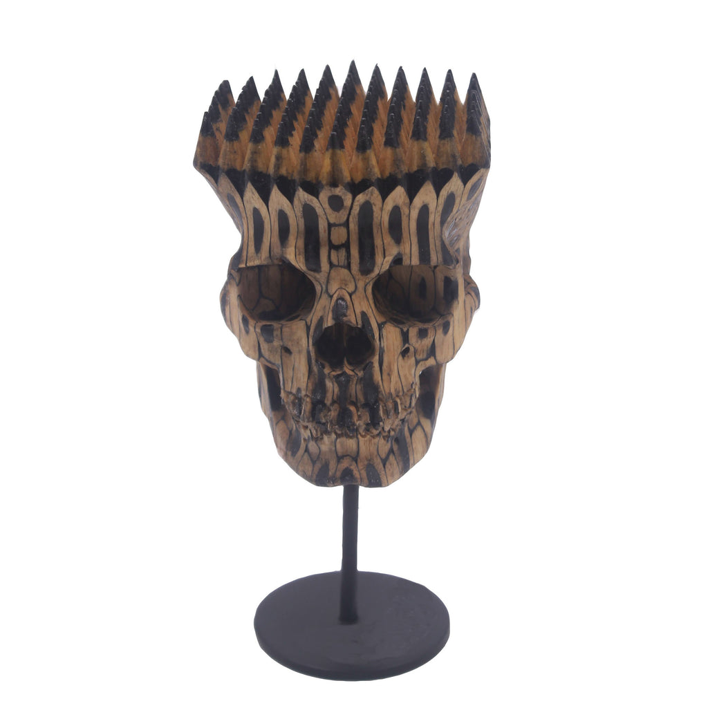 HAND CARVED FABER CASTELL PENCILS SKULL - SMALL