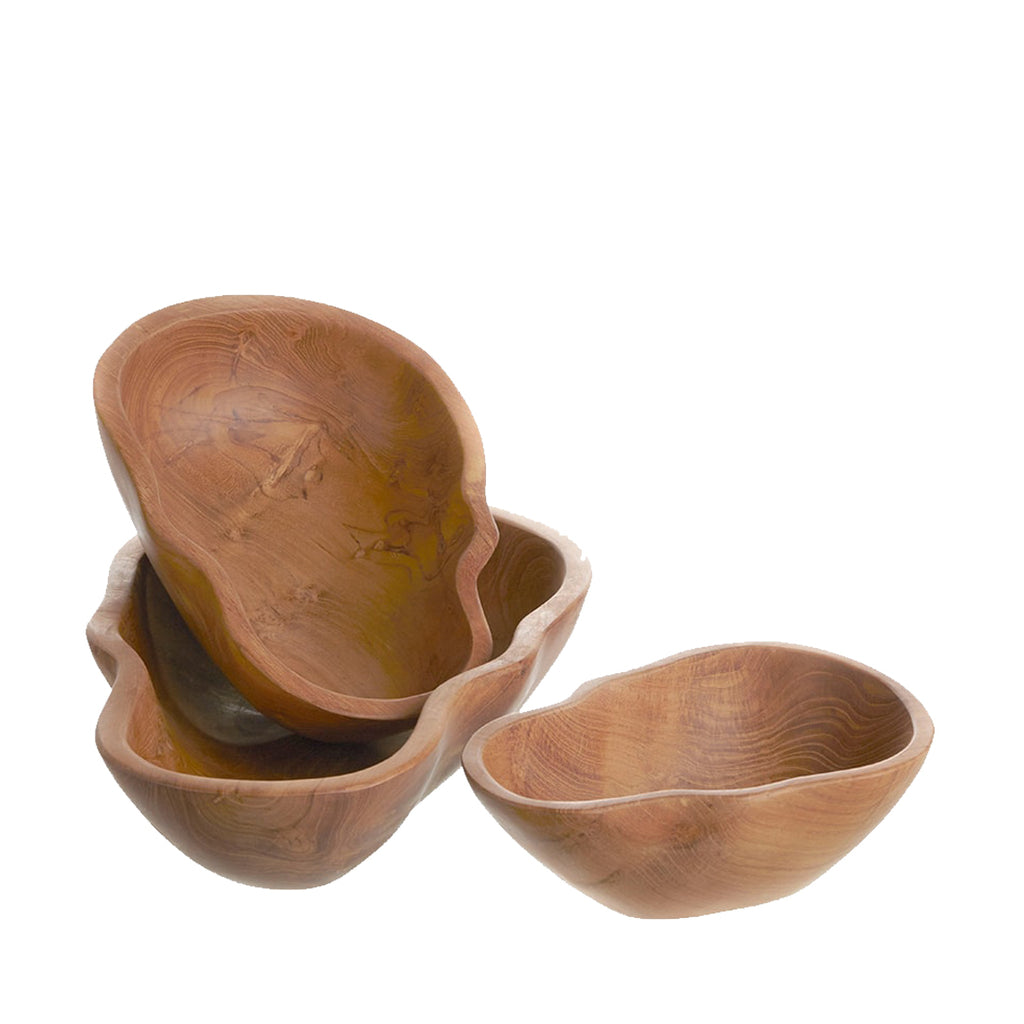 SET of 3 HAND CARVED SKULL SHAPE TEAK WOOD BOWLS