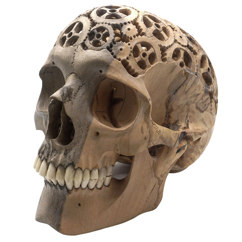 PREORDER - HAND CARVED WOOD SKULL FILIGREE SKULL - LARGE