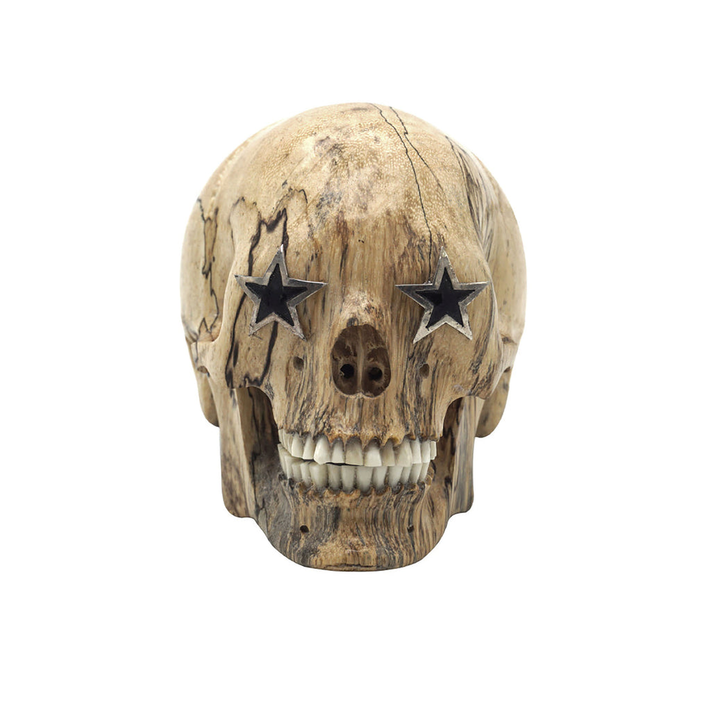 HAND CARVED WOOD SKULL WITH STERLING SILVER STARS - 'STARS IN THE EYES'