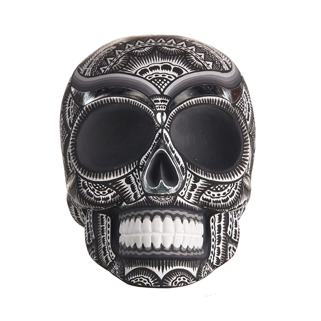 HAND PAINTED BALI STYLE  RESIN SKULL – BLACK AND WHITE - LARGE