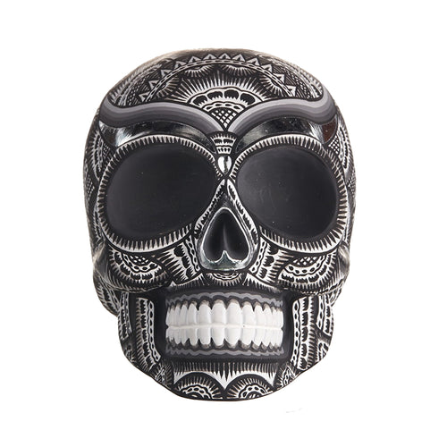 HAND PAINTED BALI STYLE  RESIN SKULL - LARGE - BLACK AND WHITE