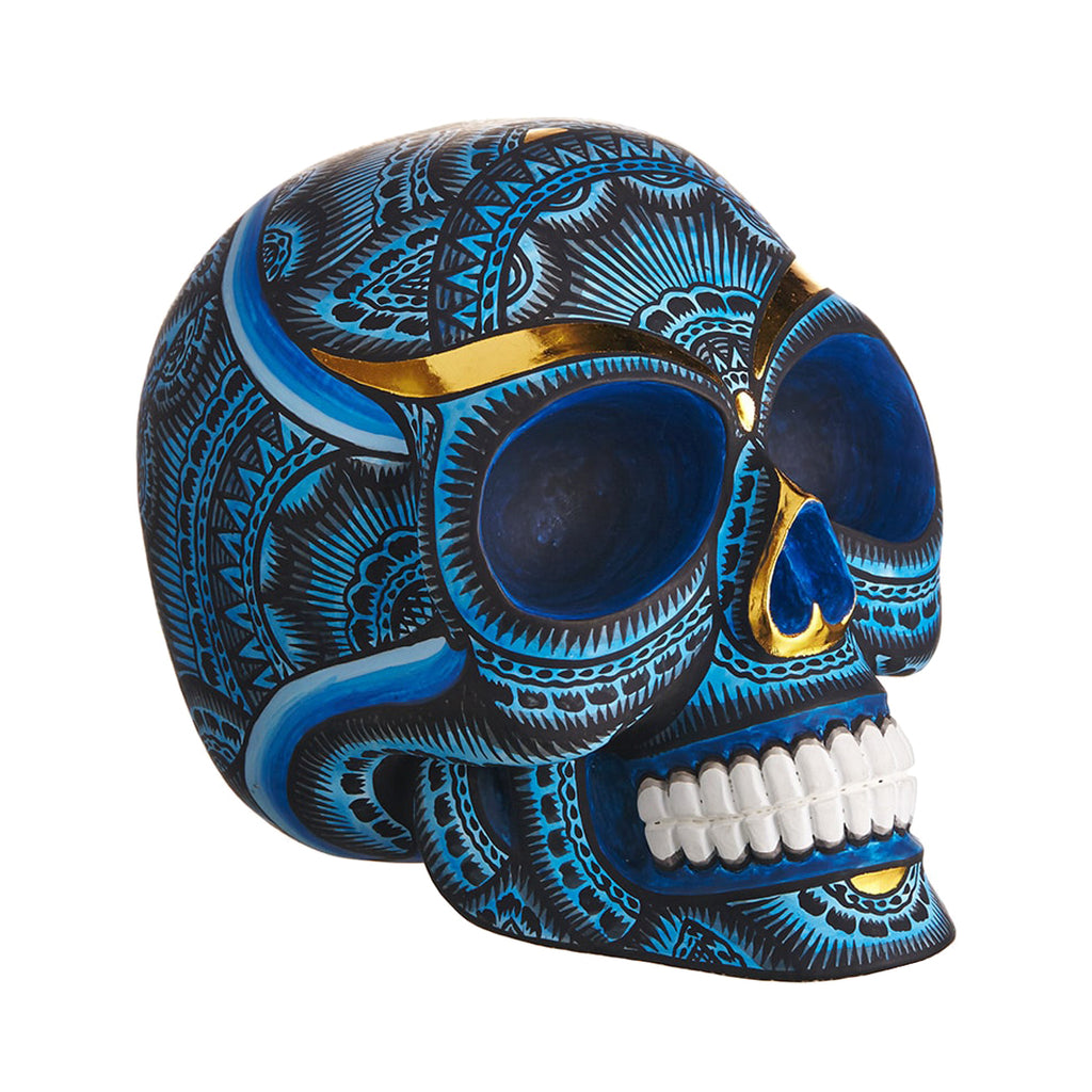HAND PAINTED BALI STYLE  RESIN SKULL – BLUE - LARGE