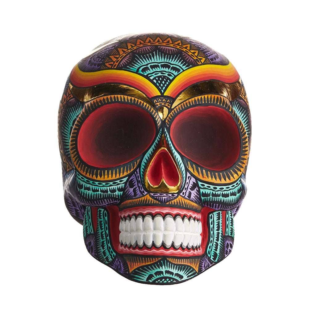 HAND PAINTED BALI STYLE  RESIN SKULL - LARGE - COLOR