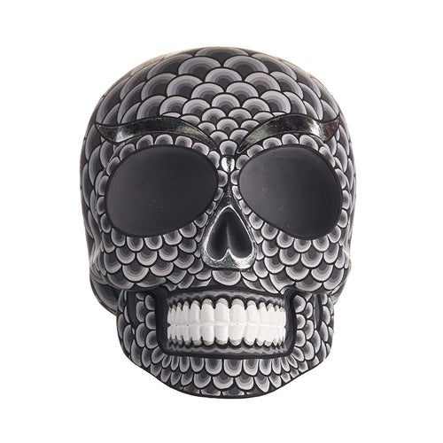 HAND PAINTED BALI STYLE RESIN SKULL - LARGE - SCALES
