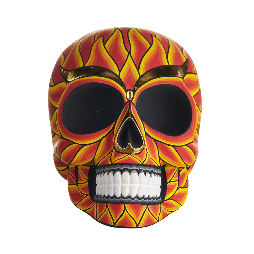 HAND PAINTED BALI STYLE RESIN SKULL - LARGE - FLAME