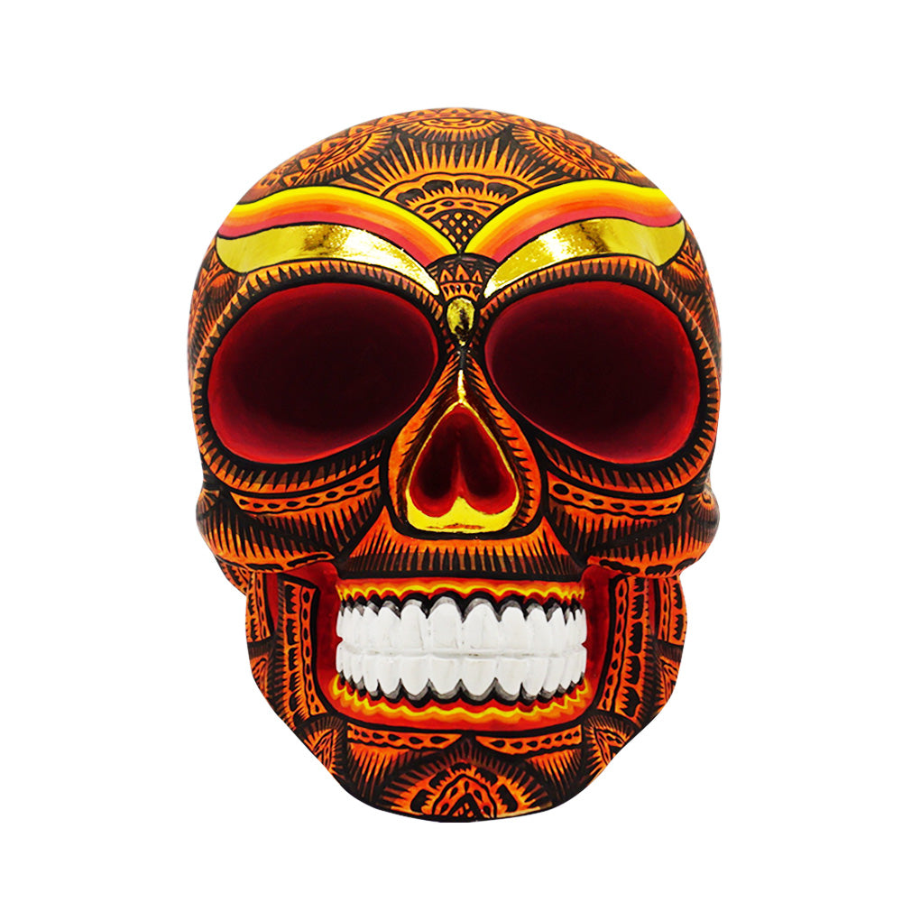 HAND PAINTED BALI STYLE  RESIN SKULL - LARGE - ORANGE