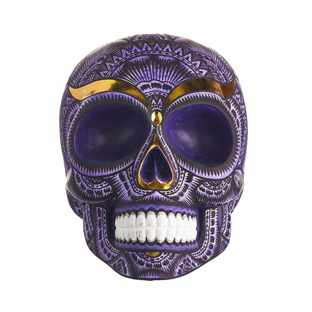 HAND PAINTED BALI STYLE RESIN SKULL – PURPLE - LARGE