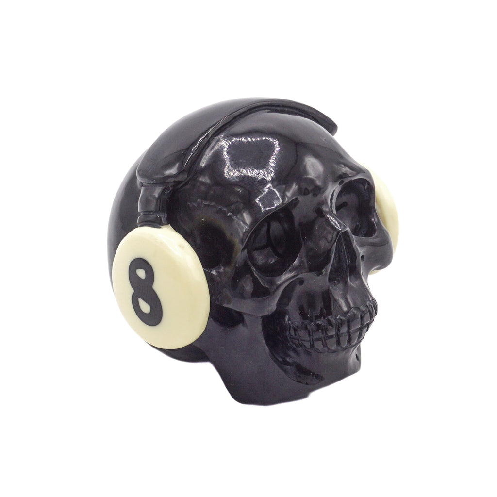 HAND CARVED DJ POOL BALL SKULL - BLACK #8