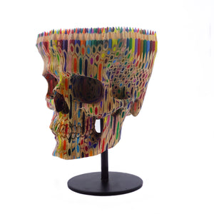 HAND CARVED FABER CASTELL COLOR PENCILS SKULL - LARGE - 'PENCILED IN'