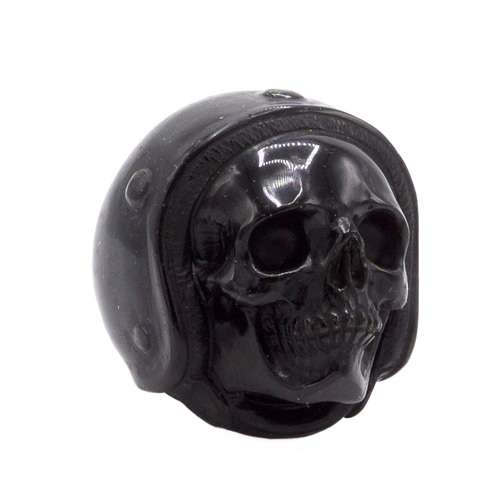 HAND CARVED MEXICAN BLACK OBSIDIAN 'HELMET' SKULL - SMALL