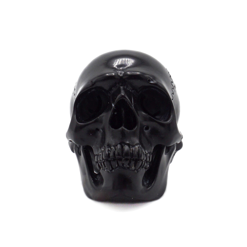 HAND CARVED POOL BALL SKULL - BLACK #8