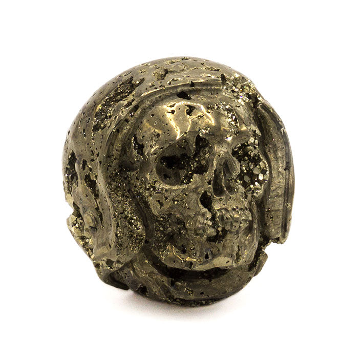 HAND CARVED PYRITE 'HELMET' SKULL - SMALL - 'PYRITE IN THE FACE'
