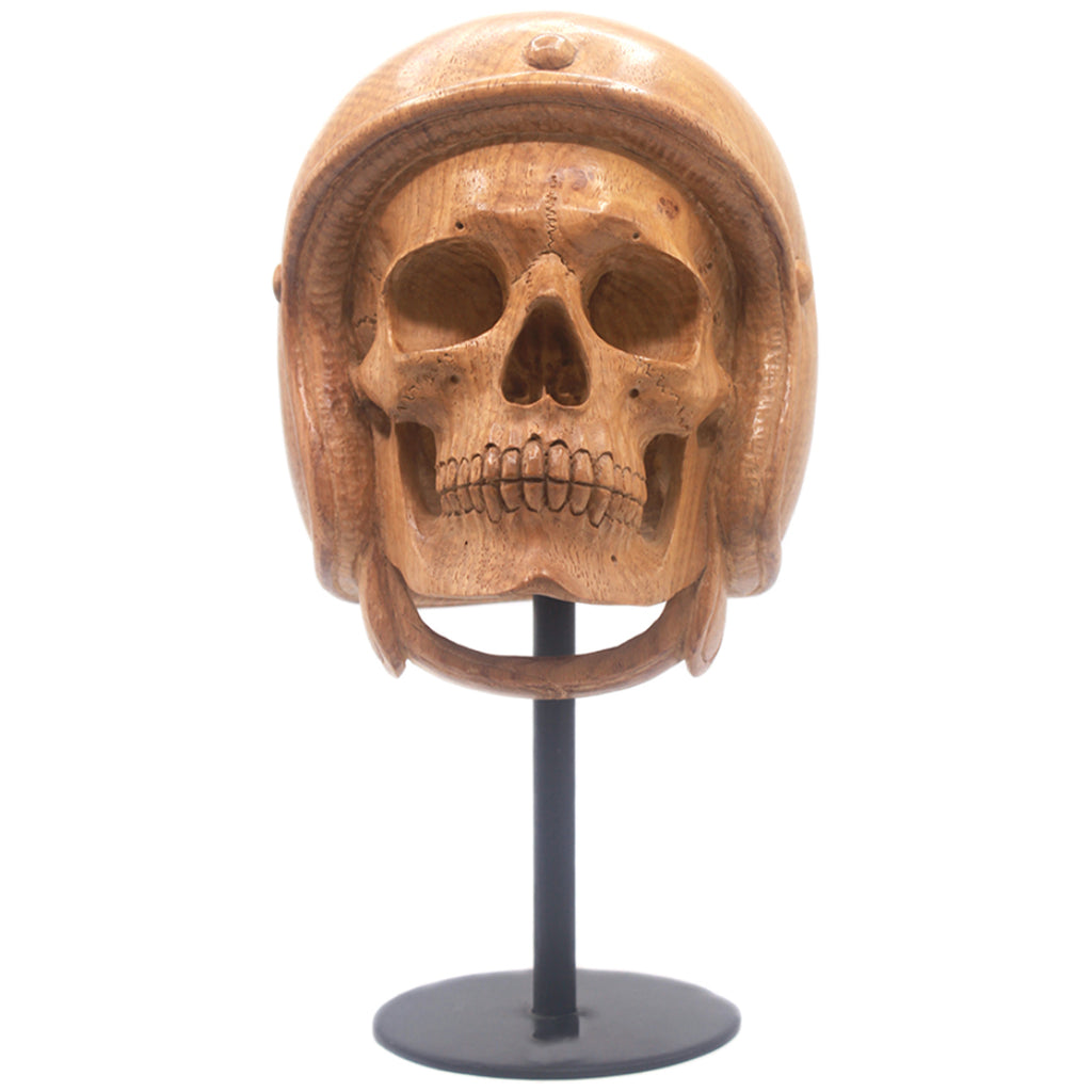 HAND CARVED WOOD MOTORCYCLE HELMET SKULL - LARGE