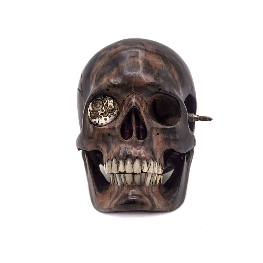 HAND CARVED WOOD SKULL - SMALL - 'STEAMPUNK SKULL'