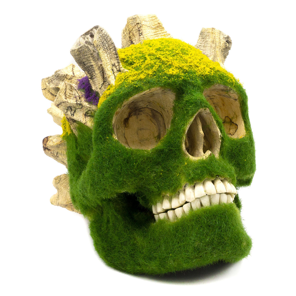 HAND CARVED WOOD AND STATIC GRASS SKULL - 'PUSHING UP DAISIES'