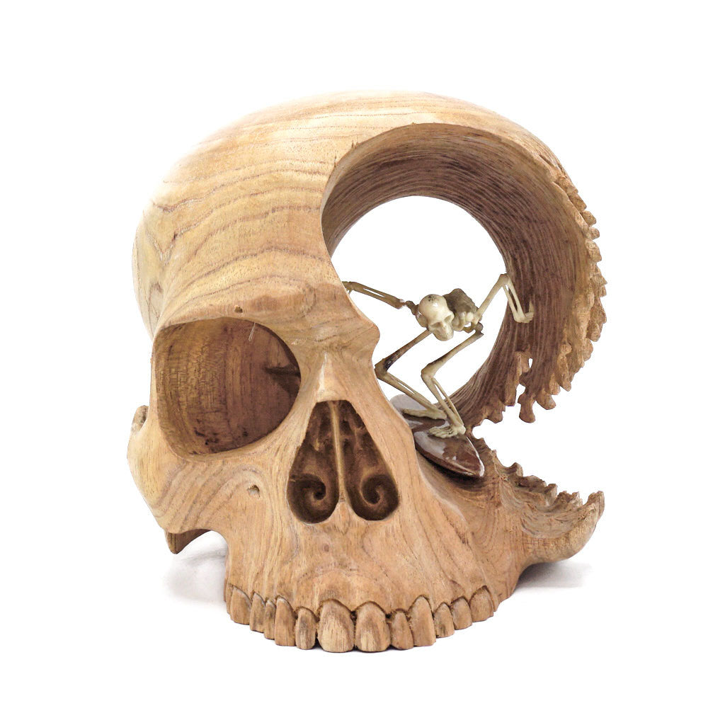 PREORDER - HAND CARVED WOOD SKULL AND ANTLER SKELETON - LARGE - 'BRAIN WAVE'