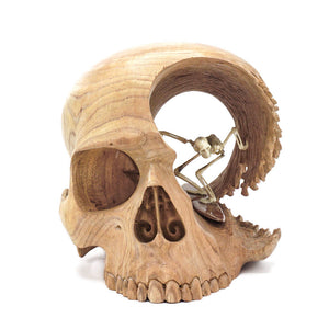 HAND CARVED WOOD SKULL AND ANTLER SKELETON - LARGE - 'BRAIN WAVE'
