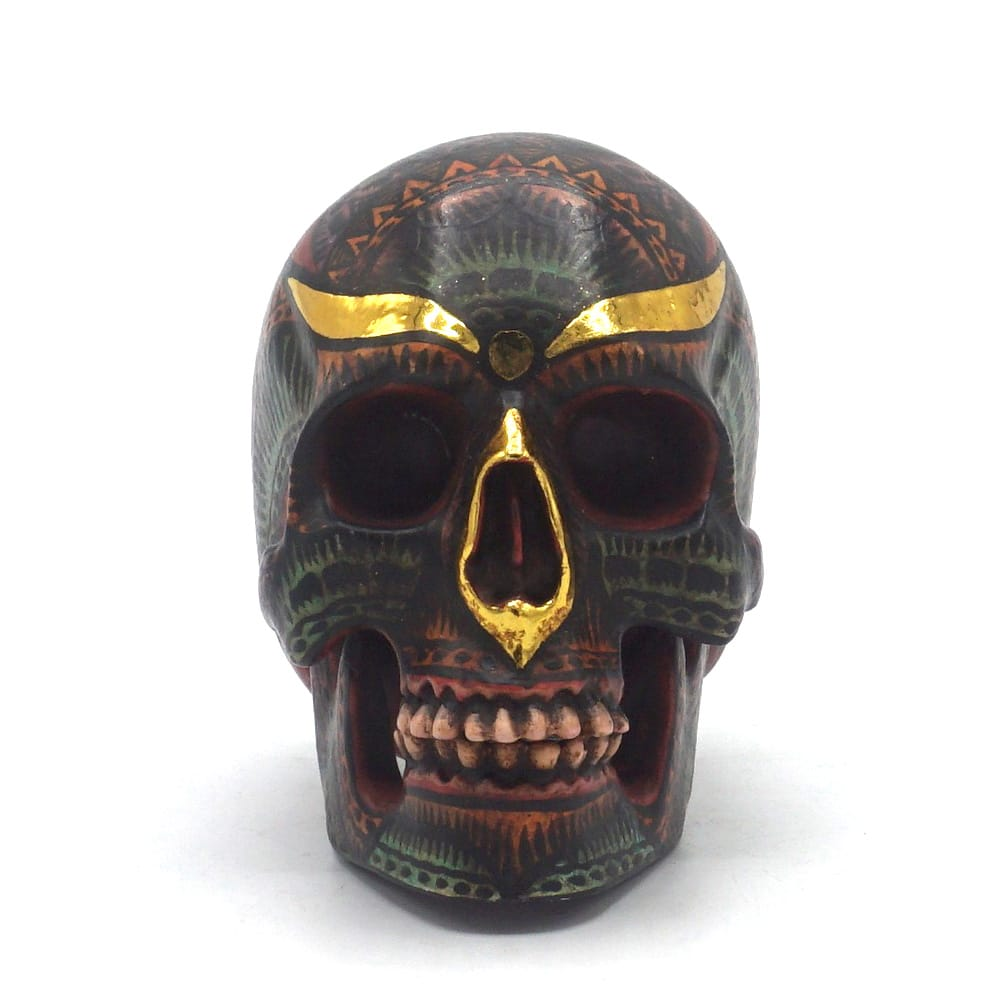 HAND PAINTED BALI STYLE RESIN SKULL - ANTIQUE - SMALL