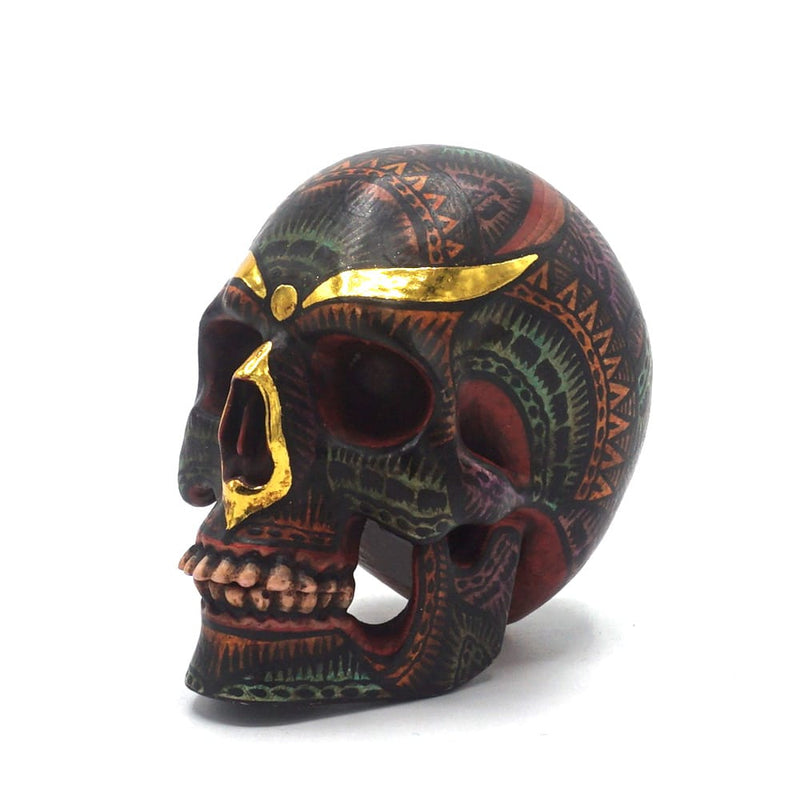 HAND PAINTED BALI STYLE RESIN SKULL - SMALL  - ANTIQUE