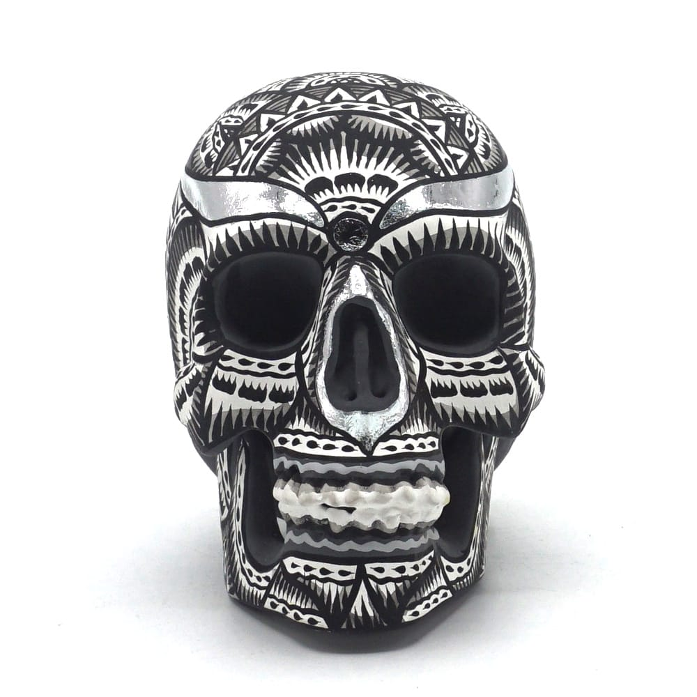 HAND PAINTED BALI STYLE RESIN SKULL - BLACK AND WHITE - SMALL