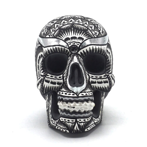 HAND PAINTED BALI STYLE RESIN SKULL - SMALL  - BLACK AND WHITE
