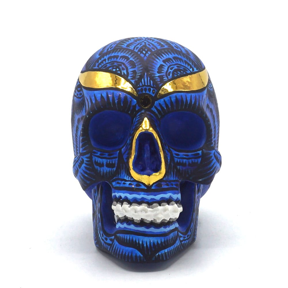 HAND PAINTED BALI STYLE RESIN SKULL - BLUE - SMALL