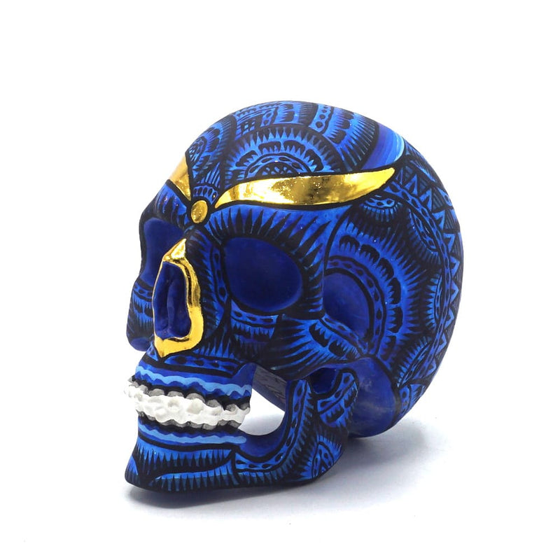 HAND PAINTED BALI STYLE RESIN SKULL - SMALL - BLUE