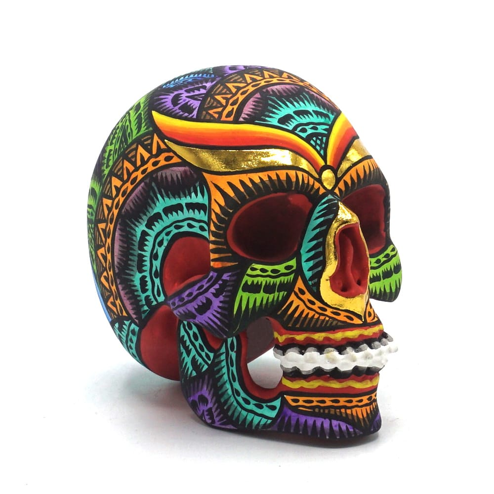 HAND PAINTED BALI STYLE RESIN SKULL - COLOR - SMALL