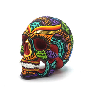 HAND PAINTED BALI STYLE RESIN SKULL - SMALL - COLOR
