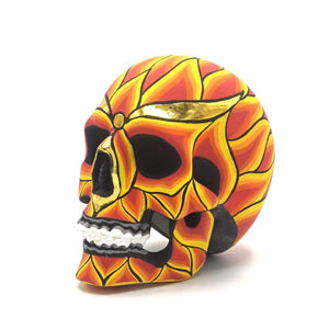 HAND PAINTED BALI STYLE RESIN SKULL - FLAME - SMALL