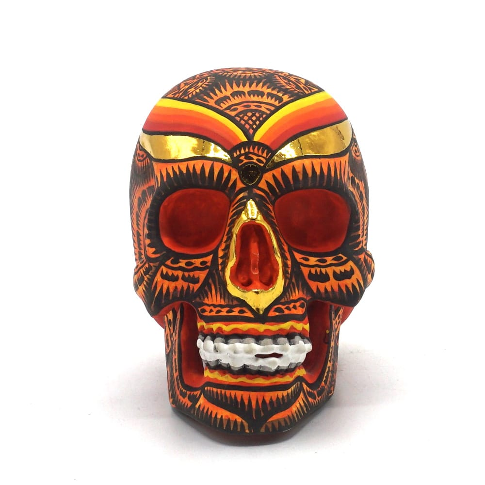 HAND PAINTED BALI STYLE RESIN SKULL - ORANGE - SMALL