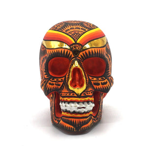 HAND PAINTED BALI STYLE RESIN SKULL - SMALL - ORANGE