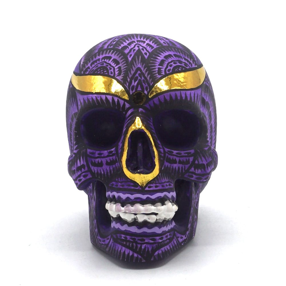 HAND PAINTED BALI STYLE RESIN SKULL - PURPLE - SMALL