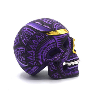 HAND PAINTED BALI STYLE RESIN SKULL - SMALL - PURPLE
