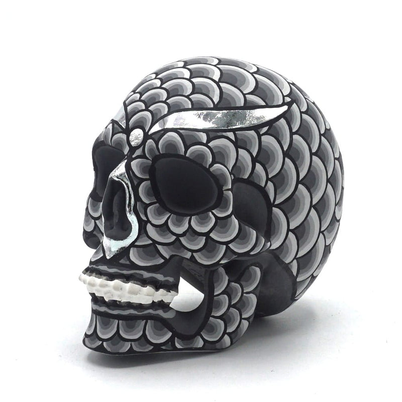 HAND PAINTED BALI STYLE RESIN SKULL - SCALES - SMALL