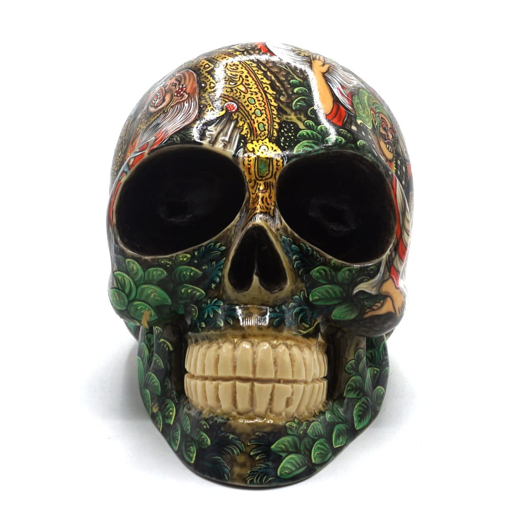 HAND PAINTED BALI SCENE RESIN SKULL - LARGE - 'BARONG'