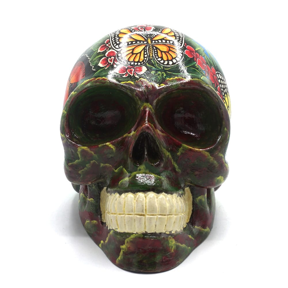 HAND PAINTED BALI SCENE RESIN SKULL - BUTTERFLY - LARGE
