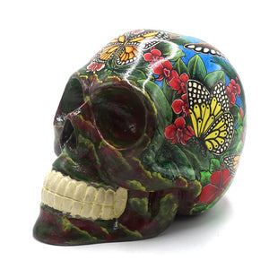 HAND PAINTED BALI SCENE RESIN SKULL - LARGE - 'BUTTERFLY'