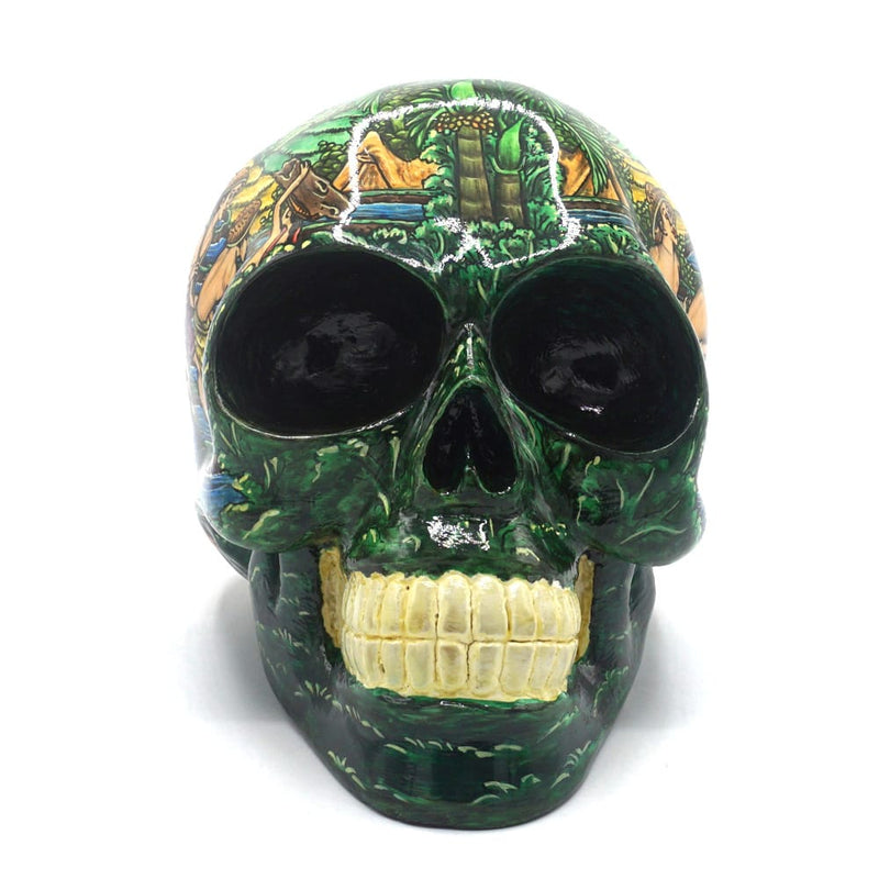 HAND PAINTED BALI SCENE RESIN SKULL - RICE FIELD - LARGE
