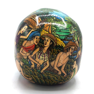 HAND PAINTED BALI SCENE RESIN SKULL  - LARGE - 'RICE FIELD'