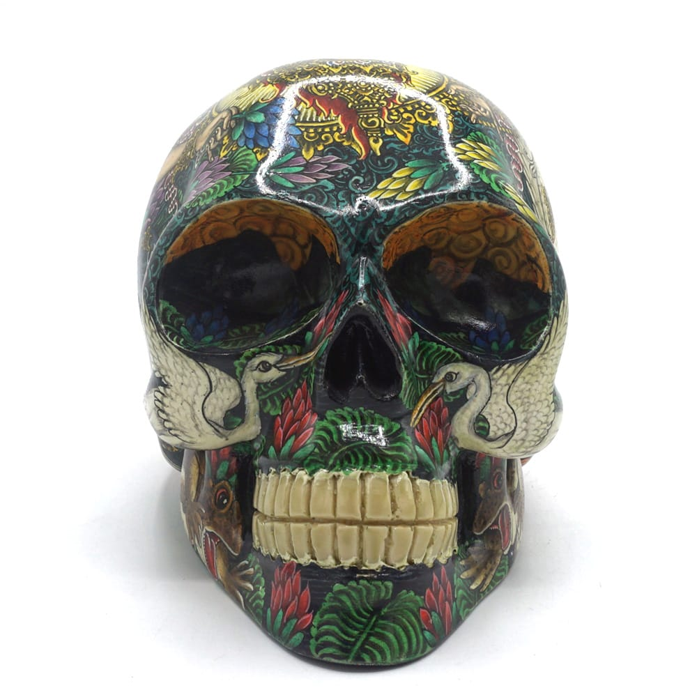 HAND PAINTED BALI SCENE RESIN SKULL - SARASWATI COLOR - LARGE